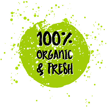 Go green Eco icon and bio sign on watercolor stain. Vector banner 100% natural organic food concept. Farm Fresh logo and Certified Organic Product emblem. Natural Vegetarian food and Vegan food label Vectores