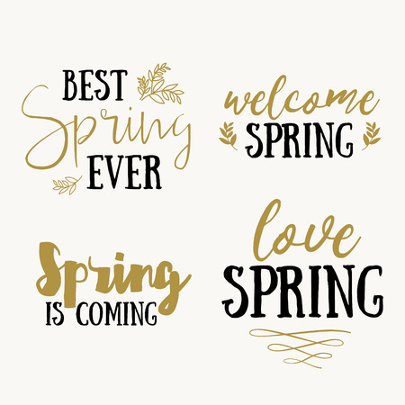 april beautiful: Hello Spring hand drawn inspiration quote. Vector gold spring typography text design element. Brush lettering quote and spring time typographic poster. Housewarming hand lettering spring quote.