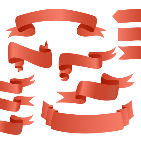 ribbon banner: Big Red Ribbons Set, Isolated On White Background, Vector Illustration. Red ribbons for cards. Red Ribbon Banner. Vector Ribbons set.