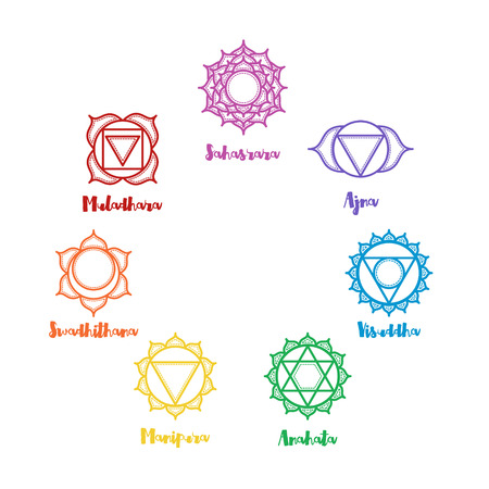 muladhara: Isolated indian ornamental 7 chakra icons set. Chakras used in Hinduism, Buddhism and Ayurveda. Vector Sahasrara, Ajna, Vissudha, Anahata, Manipura, Svadhisthana, Muladhara. Color yoga chakra mandalas