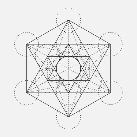 Metatron's Cube. Flower of life. Vector Geometric Symbol isolated. Sacred Geometric Figure named Metatrons Cube. Holy Glyph. Sacred geometry. Sacred Metatron's Cube.