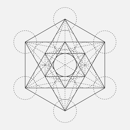 Metatrons Cube. Flower of life. Vector Geometric Symbol isolated. Sacred Geometric Figure named Metatrons Cube. Holy Glyph. Sacred geometry. Sacred Metatrons Cube.  Illustration