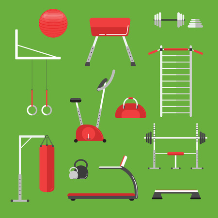 Sport equipment flat icons isolated. Gym training, bodybuilding and active lifestyle, fitness equipment. Fitness gym sport club vector icon. Sport equipment icons isolated. Athlete and Sport equipment