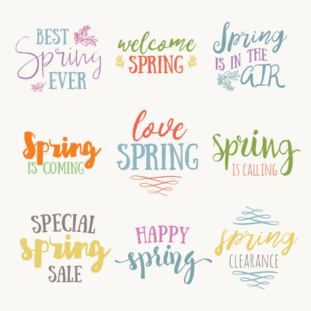 Spring time hand drawn inspirational quote set. Vector spring typography text design element. Brush lettering quote and spring time typographic poster. Housewarming hand lettering spring quote