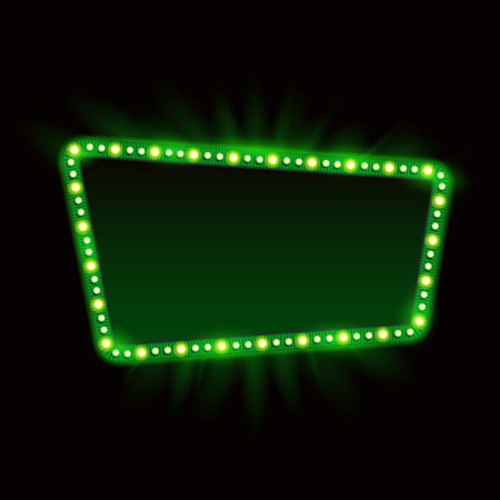 Retro Showtime Sign Design. Neon Lamps billboard on dark background. American advertisement, vector illustration. Cinema and theater Signage Light Bulbs Frame. 1950s Sign Design, Retro Signage, Sale. Ilustracja
