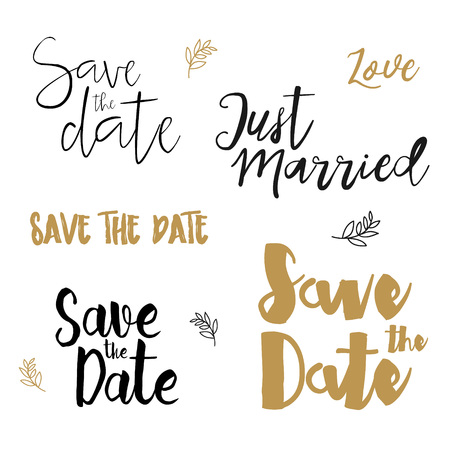 #55022522   Save The Date Wedding Invitation Labels. Save The Date Brush  Lettering. Save The Date Template, Wedding Invitation With Hand Drawn  Lettering ...