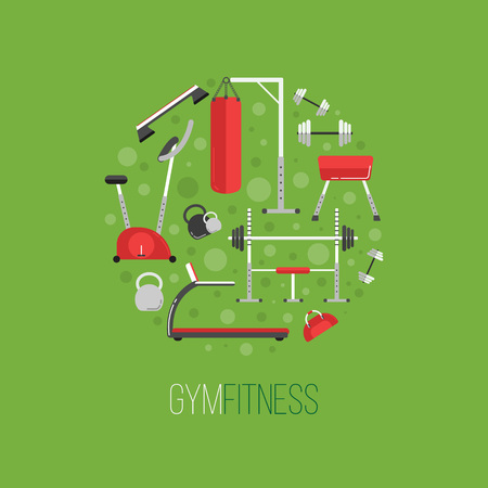 sport equipment: Sport equipment flat banner template. Gym training, bodybuilding, healthy and active lifestyle, fitness elements. Fitness gym sport club vector flyer. Athlete and sport tools. Bicycle, ladder, fitball Illustration