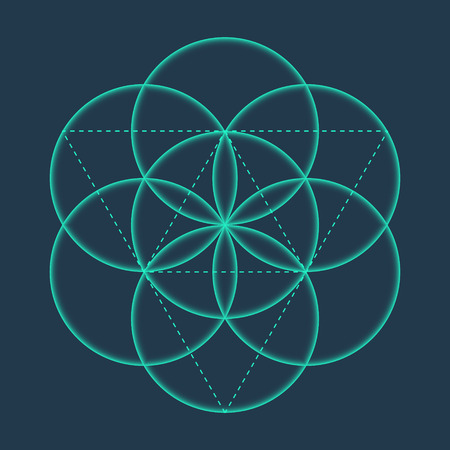 flower of life: Flower of Life sign. Vector isolated Geometric Symbol Flower of Life. Flower of Life symbol with circles. Metatrons Cube. Sacred Geometric glyph - Flower of life. Holy sacred symbol. Sacred Geometry