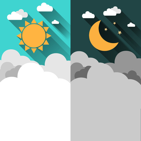 day forecast: Sun, moon, stars and clouds banner. Day and night time concept vector banner. Sunny Day flyer. Star Moon Night flyer. Weather background. Forecast concept banner. Daytime poster. Day and Night layout Illustration