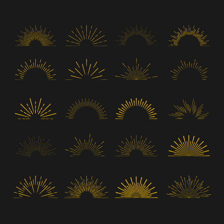 Retro Sun burst shapes. Vintage starburst logo, labels, badges. Sunburst minimal logo frames. Vector firework design elements isolated. Sun burst light logo. Minimal vintage gold firework burst icon Stok Fotoğraf - 55756685