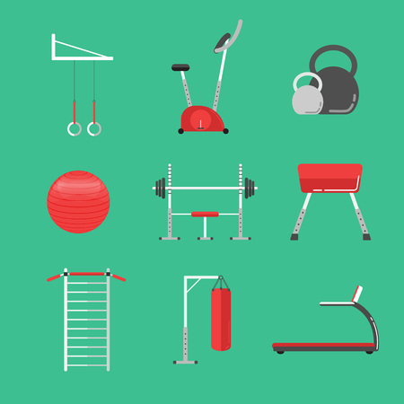sport equipment: Sport equipment flat icons isolated. Gym training, bodybuilding and active lifestyle, fitness equipment. Fitness gym sport club vector icons. Sport equipment icons isolated. Athlete and Sport