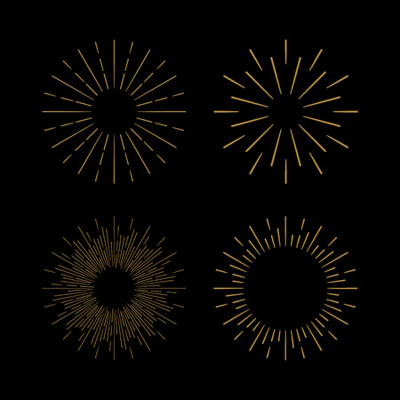 Retro Sun burst shapes. Vintage starburst logo, labels, badges. Sunburst minimal logo frames. Vector firework design elements isolated. Sun burst light logo. Minimal vintage gold firework burst icon