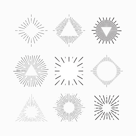 place to shine: Tribal boho style sun burst frame with place for your text. Starburst, sunburst hipster logo, line art vector illustration. Hipster star burst shape shine icons. Vector Tribal boho style fireworks.