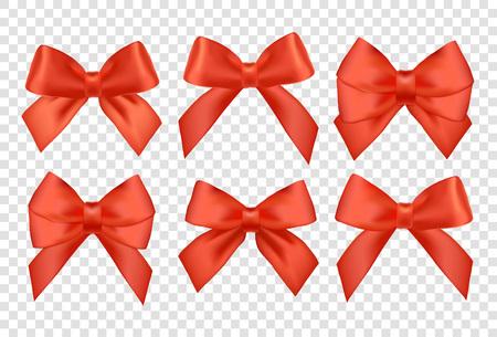 Taśmy ustawione na prezenty świąteczne. Czerwony prezent wektora łuki wstążkami. Czerwone wstążki i kokardy na prezent na Nowy Rok świętować. Boże Narodzenie wstążki, Boże Narodzenie prezenty. wstążki urodziny, prezenty urodzinowe.