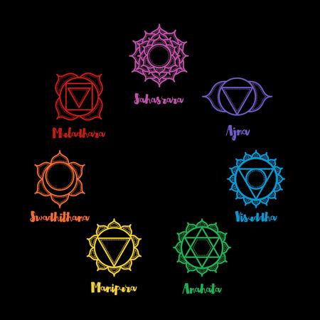 Isolated indian ornamental 7 chakra icons set. Chakras used in Hinduism, Buddhism and Ayurveda. Vector Sahasrara, Ajna, Vissudha, Anahata, Manipura, Svadhisthana, Muladhara. Color yoga chakra mandalas