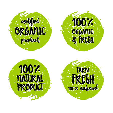 fresh food: Go green Eco icon and bio sign on watercolor stain. Vector banner 100% natural organic food concept. Farm Fresh logo and Certified Organic Product emblem. Natural Vegetarian food and Vegan food label Illustration