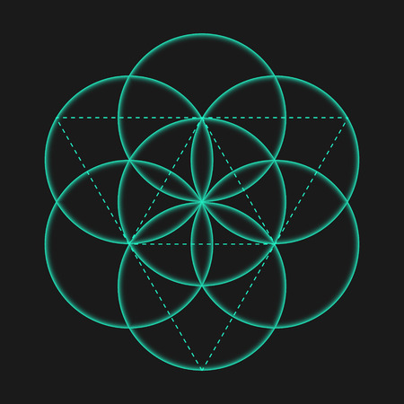 balance life: Flower of Life sign. Vector isolated Geometric Symbol Flower of Life. Flower of Life symbol with circles. Metatrons Cube. Sacred Geometric glyph - Flower of life. Holy sacred symbol. Sacred Geometry