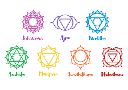 anahata: Isolated indian ornamental 7 chakra icons set. Chakras used in Hinduism, Buddhism and Ayurveda. Vector Sahasrara, Ajna, Vissudha, Anahata, Manipura, Svadhisthana, Muladhara. Color yoga chakra mandalas