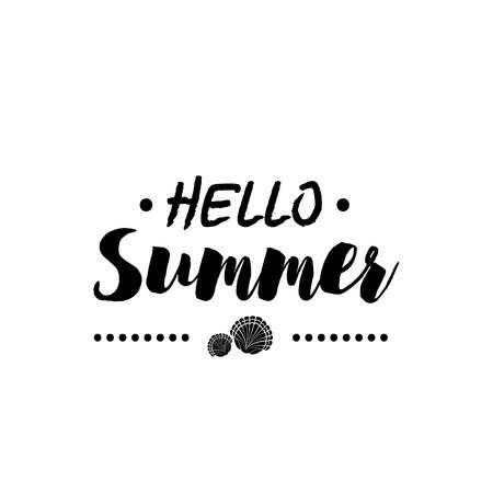 Sommerzeit Logo Vorlage. Isolierte Typografische Design Label. Hallo Sommerferien Schriftzug für Einladung, Grußkarte, Drucke und Poster. Sommer-Party-Vektor-Vorlage. Genießen Sie den Sommer-Layout