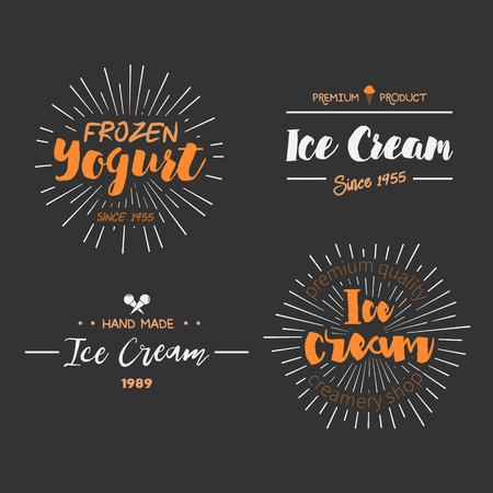 alimentos congelados: Diseño del helado Placas y etiquetas. Ilustración del vector. Helado elemento de diseño del logotipo. la etiqueta retro de la tienda de helado. Emblema de la lechería de la vendimia. Helados y yogurt helado Logos. insignias de verano.