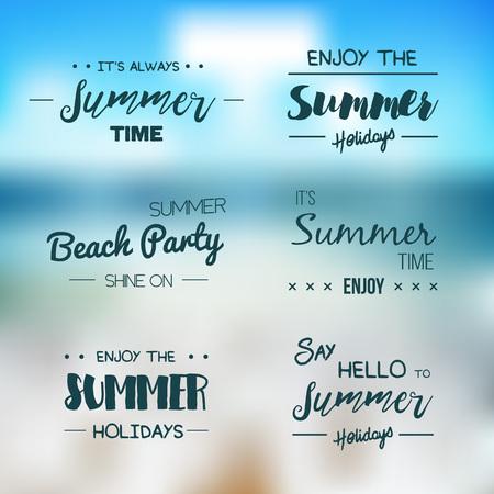 Vector summer background. Hello Summer vector illustration. Vector hand lettering inspirational typography poster hello summer. Summer fun. Summer fun quote. Handwritten summer lettering. Summer card Illustration