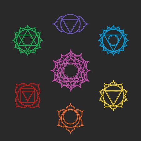 tantra: Isolated Set of beautiful indian ornamental 7 chakras. Vector illustration. Color yoga chakra icons isolated on black. 7 chakra mandalas.