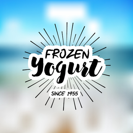 yogurt: Ice Cream Design Badges and Labels. Vector Illustration. Ice Cream Logo design element. Retro label for Ice Cream Shop. Vintage Emblem Creamery. Ice Cream and Frozen Yogurt Logos. Summer badges. Illustration