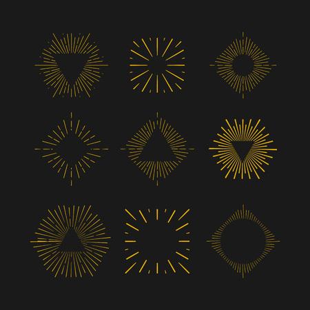 starshine: Retro Sun burst shapes. Vintage starburst  labels, badges. Sunburst minimal frames. Vector firework design elements isolated. Sun burst light. Minimal vintage gold firework burst.