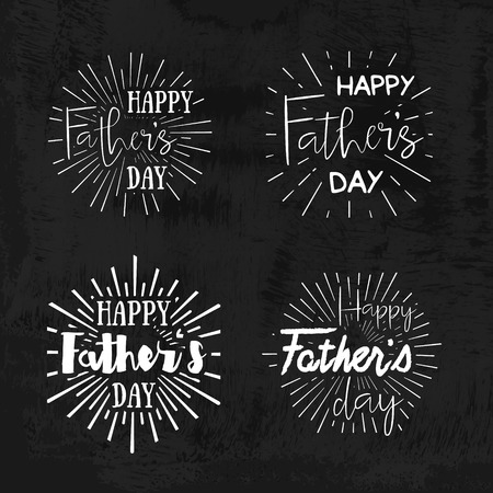 day light: Happy Fathers Day Retro calligraphic design element. Happy Fathers Day Vintage Typographical Chalkboard Background. Happy Fathers Day retro chalk label with light rays. Vector illustration. Illustration