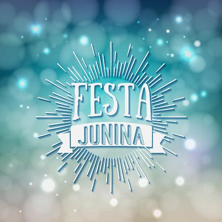 festa: Festa Junina. Traditional Brazil June festival party - Midsummer holiday. Latin American holiday, the inscription in Portuguese Festa Junina. Vector Illustration