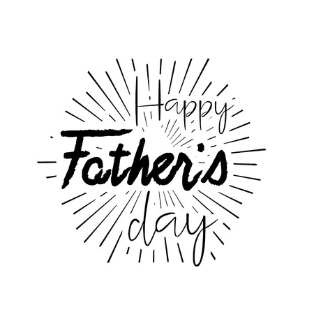 Happy Fathers Day Retro calligraphic vector design element. Happy Fathers Day Vintage Typographical design. Happy Fathers Day retro lettering invitation labels with rays. Illustration