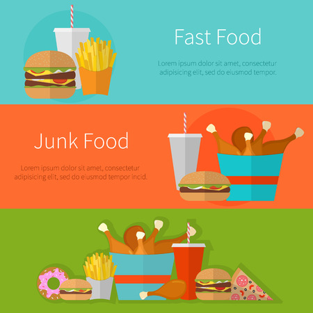 fried food: Fast food banner design concept. Flat icons of junk food. Illustration of unhealthy food, diet or restaurant menu elements. Hamburger, cheeseburger, fried chicken, french fries, pizza, donut.
