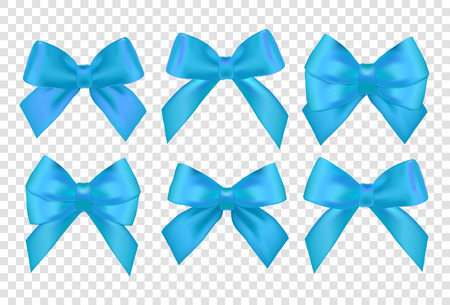 Ribbons set for Christmas gifts. Blue gift vector bows with ribbons. Blue gift ribbons and bows for New Year celebrate. Christmas ribbons, christmas gifts. Birthday ribbons, birthday gifts.