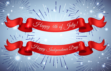 red america: Red Ribbons for  Happy independence day card United States of America. Independence Day Greeting Card
