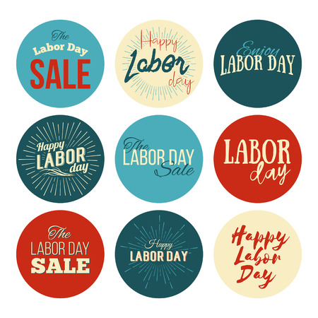 national holiday: Labor Day a national holiday of the United States. American Labor Day Sale designs set. A set of retro typographic labels, and badges. Vector Illustration.