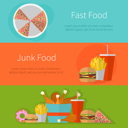 hamburgers: Fast food banner design concept. Flat icons of junk food. Illustration of unhealthy food, diet or restaurant menu elements. Hamburger, cheeseburger, fried chicken, french fries, pizza, donut.