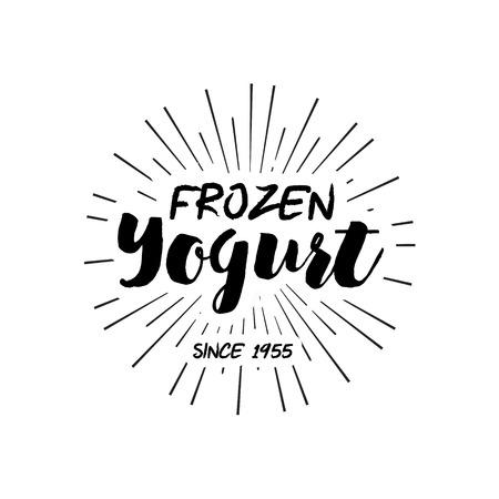 yogur: Diseño del helado Placas y etiquetas. Ilustración del vector. Helado elemento de diseño. la etiqueta retro de la tienda de helado. Emblema de la lechería de la vendimia. Helados y yogurt helado Logos. insignias de verano.