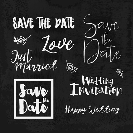 husband and wife: Save the date hand lettering. Set of wedding invitation vintage typographic design elements. Vector calligraphic phrases about love, wedding, just married.
