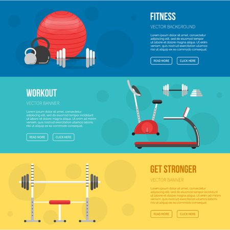 sport equipment: Fitness training and gym club banners set. Gym and Fitness center flyers. Vector Sport background. Healthy lifestyle concept. Sport inventory. Fitness class equipment.