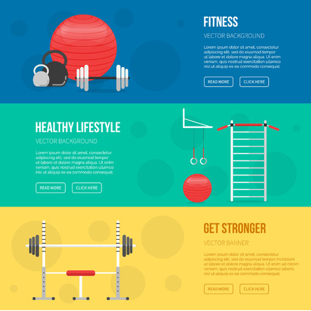 Fitness Training And Gym Club Banners Set. Fitness Center Flyers ...