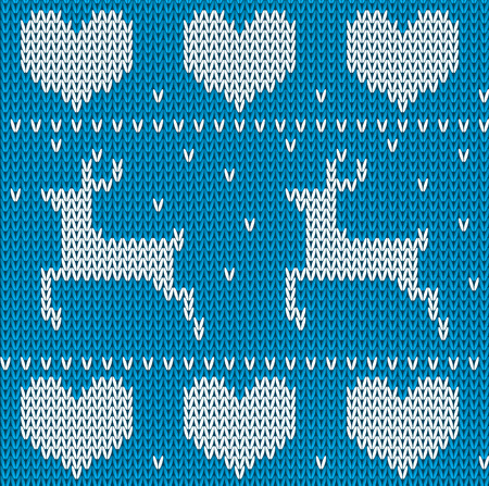 norwegian: Blue Knitted deers sweater in Norwegian style. Knitted Scandinavian ornament. Vector seamless Christmas sweater pattern Illustration