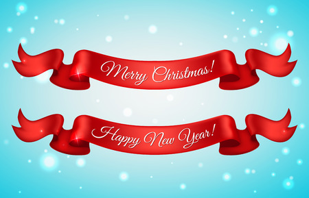 ribbon banner: Shiny holiday Happy New Year and Merry Christmas red satin ribbon bow on snow background. Vector illustration. Illustration