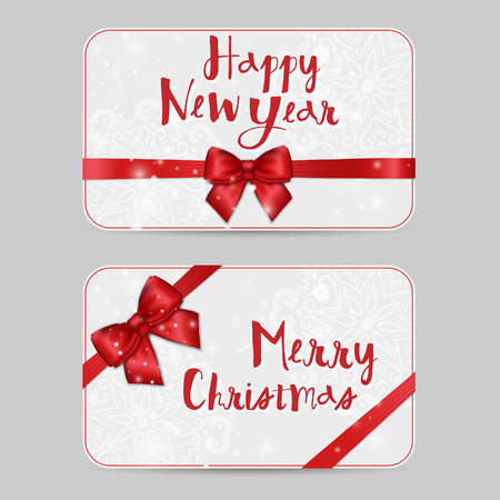 vouchers: Set of Christmas ornamental Card Templates with Shiny holiday red satin ribbon bow on white lacy background. Vector New Year template for greetings, invitations, cards, vouchers, gift cards
