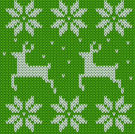 Green Knitted deers sweater in Norwegian style. Knitted Scandinavian ornament. Vector seamless Christmas sweater pattern Illustration
