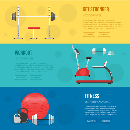 Fitness training and gym club banners set. Gym and Fitness center flyers. Vector Sport background. Healthy lifestyle concept. Sport inventory. Fitness class equipment.
