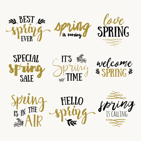 say hello: Its spring time lettering greeting cards set. Special spring sale typography poster in gold black and white colors. Vector illustration.