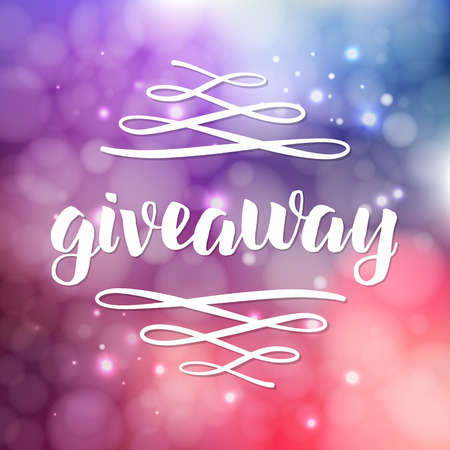 Giveaway lettering for promotion in social media with swashes on blurred background with lights. Free gift raffle, win a freebies. Vector advertising Ilustração