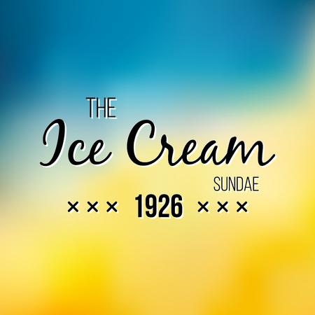 Logotipo de helado y yogurt congelado. Vector vintage Emblema. Elemento de diseño de logotipo de verano. Etiqueta retro para Creamery Foto de archivo - 75495055