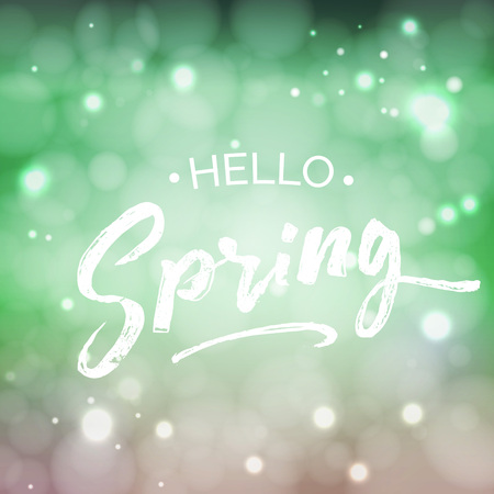 hand written: Hello Spring lettering design element. Housewarming hand written quote. Special springtime sale typography poster in green fresh colors. Vector illustration