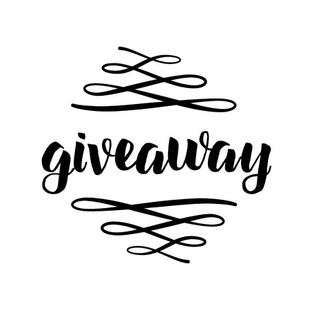 Giveaway freebies for promotion in social media with swashes isolated on white background. Free gift raffle. Vector lettering Vectores